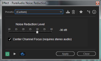 PureAudio Noise Reduction & Center Channel Focus GUI